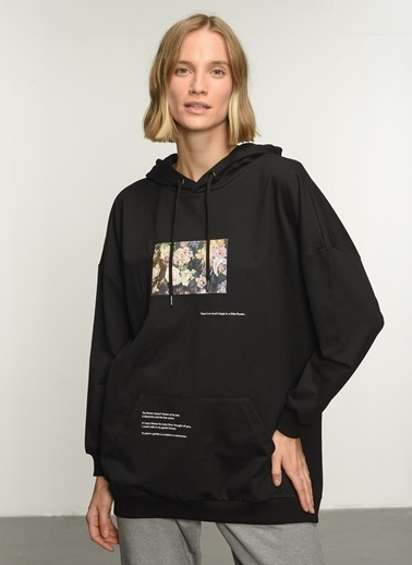 People By Fabrika PFKAW21SW0048 Baskılı Sweatshirt Siyah